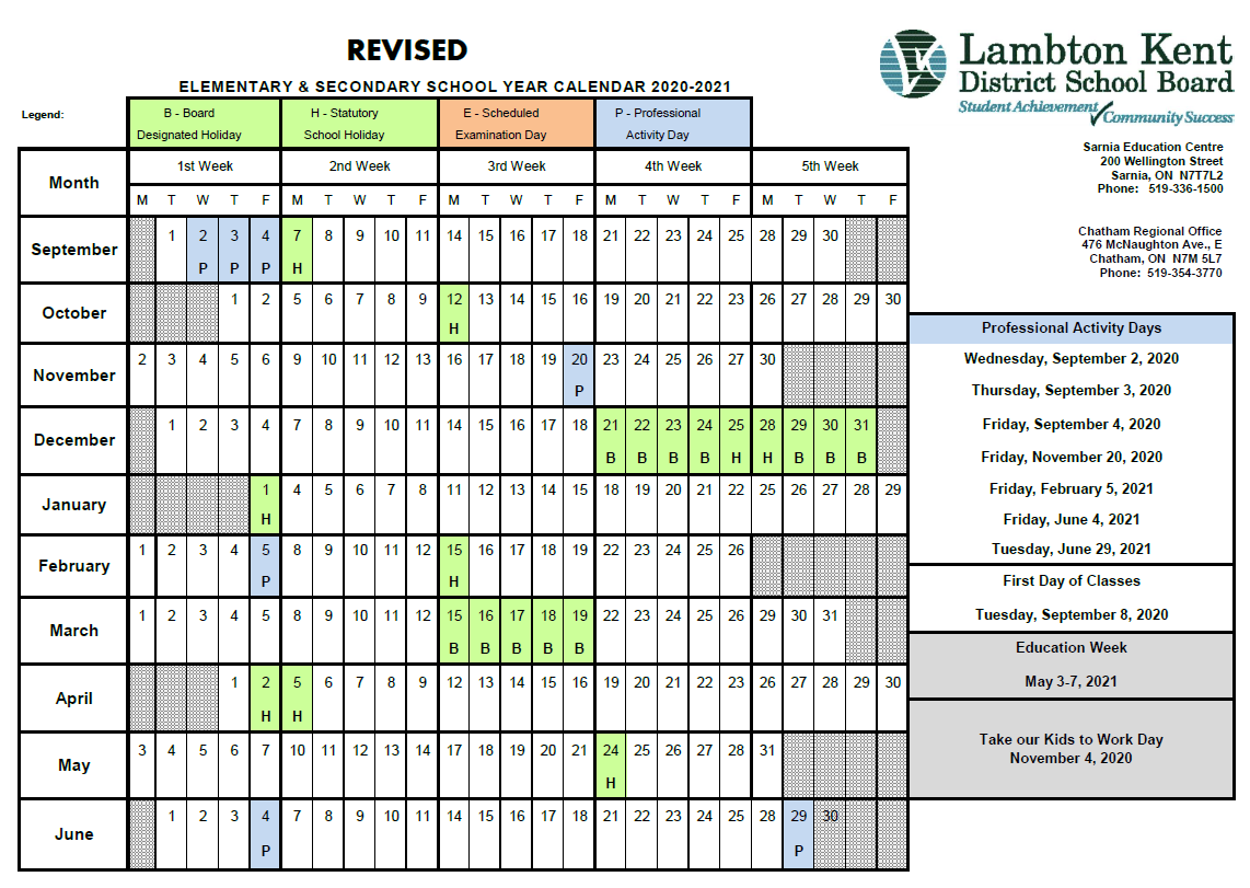 calendars lambton kent district school board