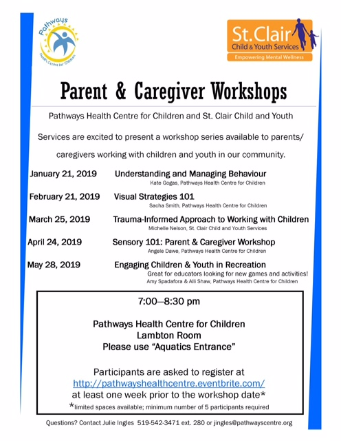 SCCY Parent Workshops 2019