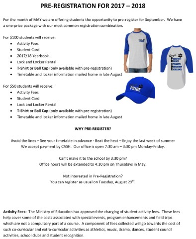 Pre-Registration for 2017/18 and receive a special edition t-shirt or ball cap.  Offer expires June 16th.