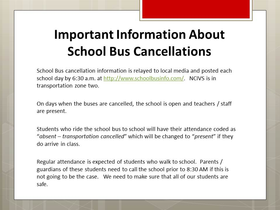 Important Information About School Bus Cancellations